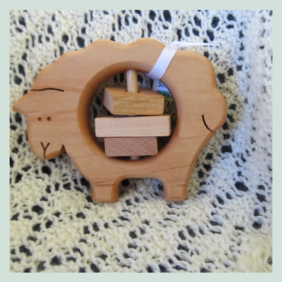 Wooden Sheep Rattle