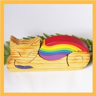 Wooden Rainbow Cat
