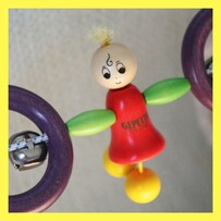 Wooden  Pram Rattle with Sally Doll